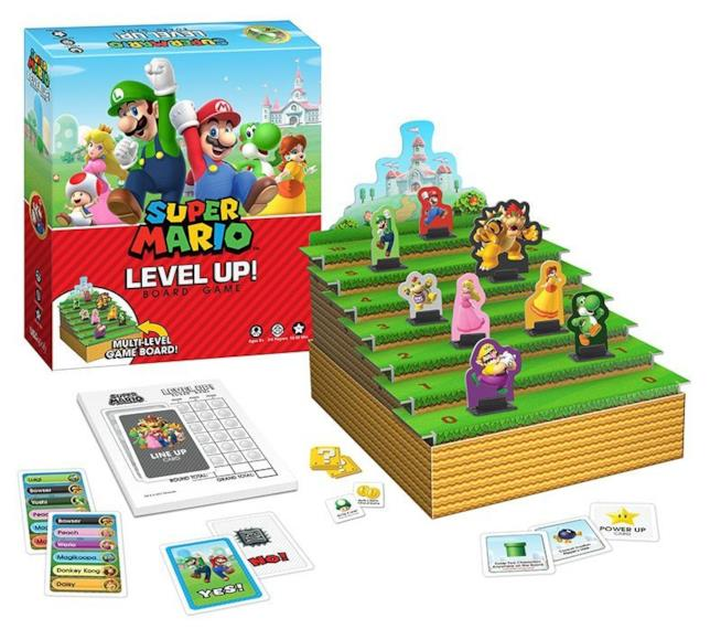 La confezione e le carte di Super Mario Level Up!