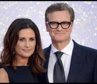 Colin Firth sorridente con la moglie Livia Giuggioli