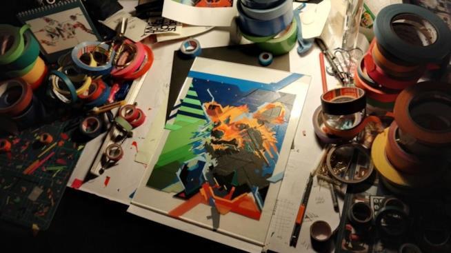 I guardiani in Tape art