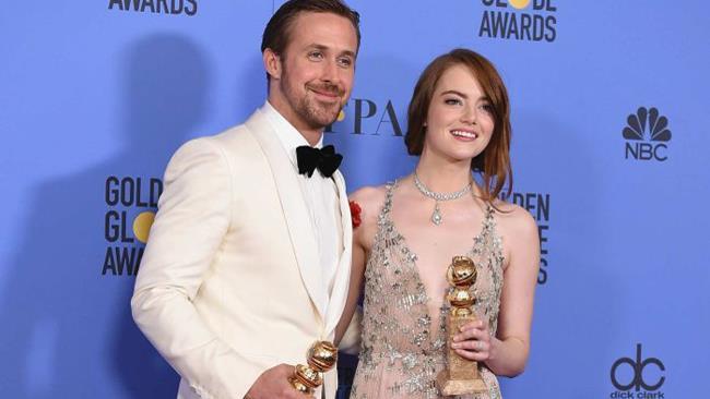 Ryan Gosling e Emma Stone ai Golden Globes