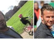 David Beckham con la figlia Harper in bicicletta
