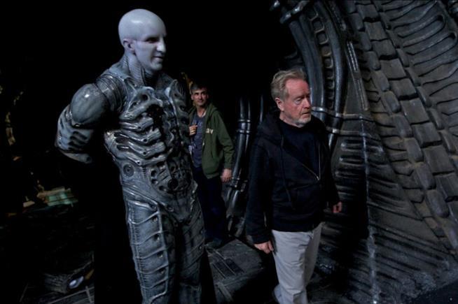 Ridley Scott sul set di Alien: Covenant