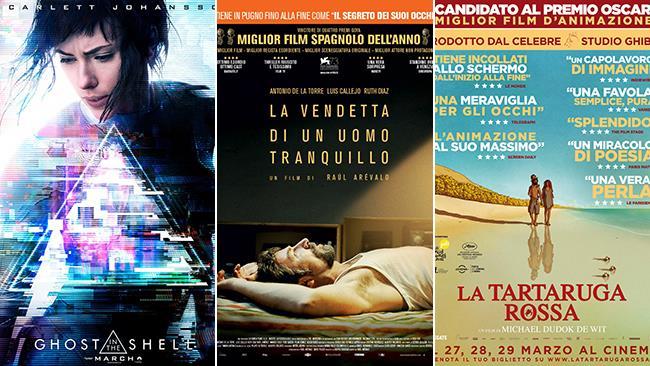 Le locandine dei film Ghost in the Shell, La Vendetta di un Uomo Tranquillo e La Tartaruga Rossa