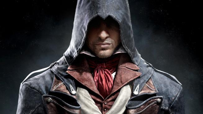 Un primo piano di Arno, protagonista di Assassin's Creed Unity