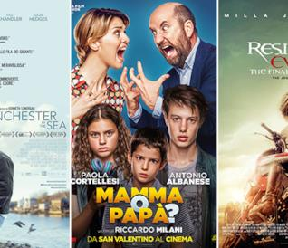 Le locandine dei film Manchester by the Sea, Mamma o Papà?, Residente Evil - The Final Chapter