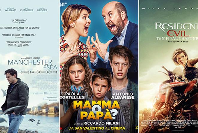 Le locandine dei film Manchester by the Sea, Mamma o Papà?, Residente Evil - The Final Chapter