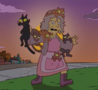 La gattara e i suoi gatti per le strade di Springfield
