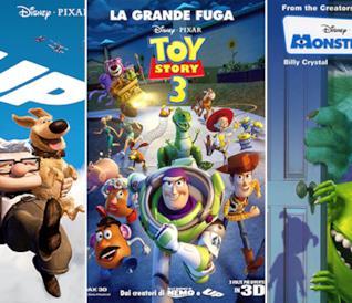Le locandine dei film Up, Toy Story 3 - La Grande Fuga e Monsters & Co.