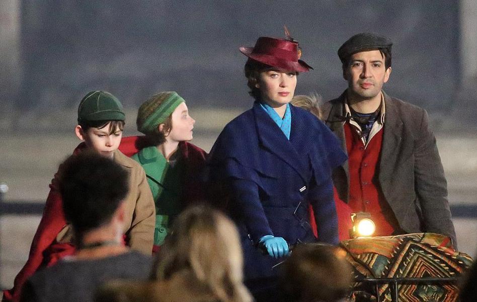 Mary Poppins, Lin-Manuel Miranda e i bambini sul set.