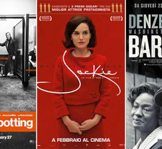 Le locandine di Trainspotting, Jackie e Barriere (Fences)
