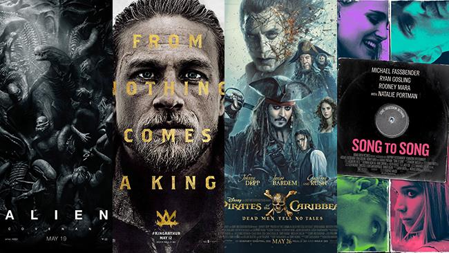 I poster di Alien - Covenant, King Arthur , La Vendetta di Salazar, Song to Song