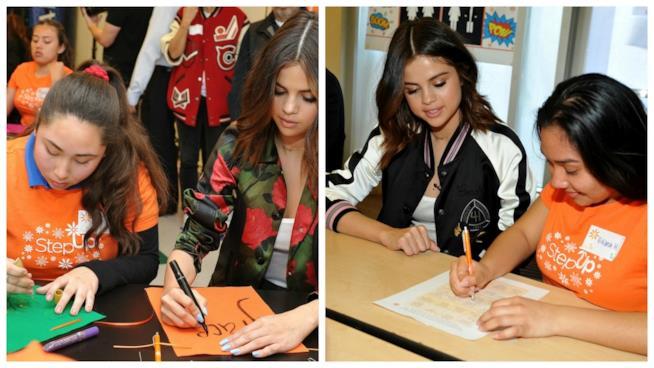 Selena Gomez con alcune studentesse