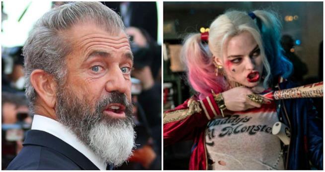 Mel Gibson in un collage con Harley Quinn