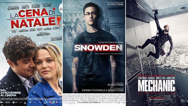 Le locandine dei film La Cena di Natale, Snowden e Mechanic: Resurrection