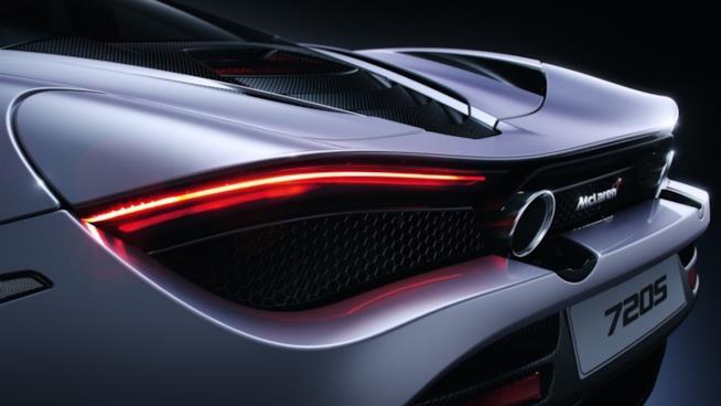 Un dettaglio della livrea della McLaren 720s