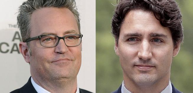 Un collage tra Matthew Perry e Justin Trudeau