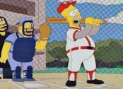 Homer Simpson mentre gioca a baseball