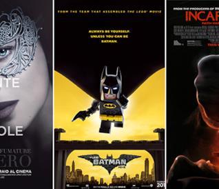 Le locandine dei film Cinquanta Sfumature di Nero, Lego Batman - Il Film e Incarnate