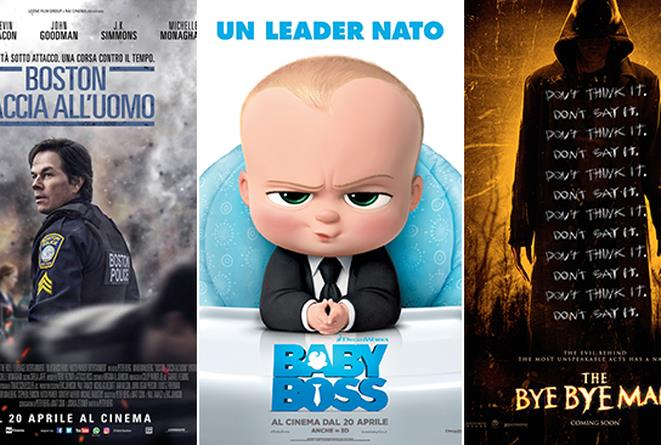 Le locandine dei film Boston - Caccia all'Uomo, Baby Boss e The Bye Bye Man