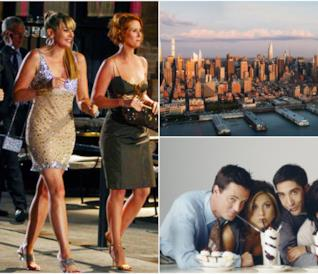 Un collage tra Sex and the City, Friends e lo skyline di New York