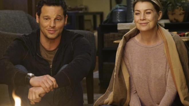 Justin Chambers e Ellen Pompeo in Grey's Anatomy