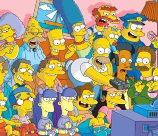 Nella foto Homer, Marge e gli altri cittadini di Springfield