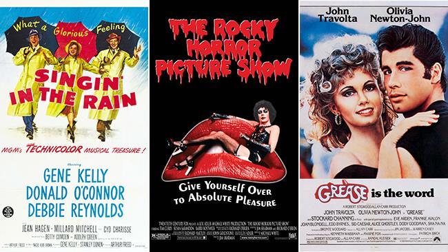 Le locandine dei film musical: Singin' In the Rain, The Rocky Horror Picture Show, Grease