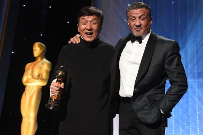 Sylvester Stallone e Jackie Chan agli Oscar alla Carriera