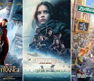 Le locandine dei film Doctor Strange, Rogue One: A Star Wars Story, Zootropolis