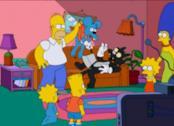 In foto Homer è arrabbiato con Grattachecca e Fichetto