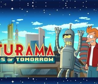 Fry, Leela e Bender annunciano Futurama. Worlds of Tomorrow