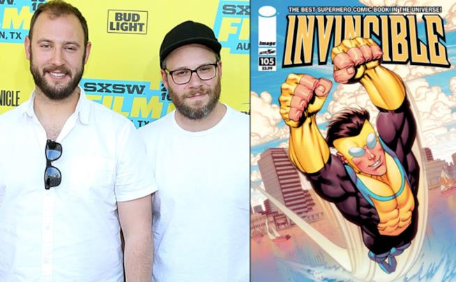 Un collage tra Invincible e Seth Rogen