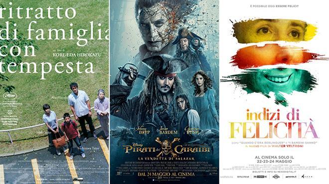 Le locandine dei film Ritratto di Famiglia con Tempesta, La Vendetta di Salazar, Indizi di Felicità