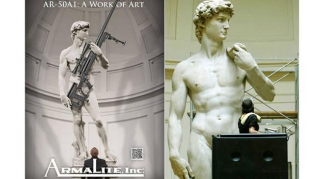 Immagine pubblicitaria del fucile AR-501 in mano al David di Michelangelo