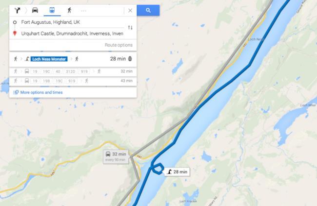 Google Maps e il trasporto via mostro di Loch Ness