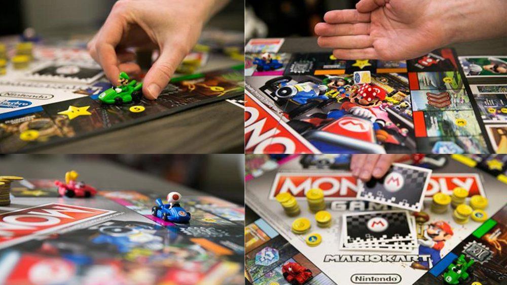 La foto di una partita con il Monopoly Gamer dedicato a Mario Kart