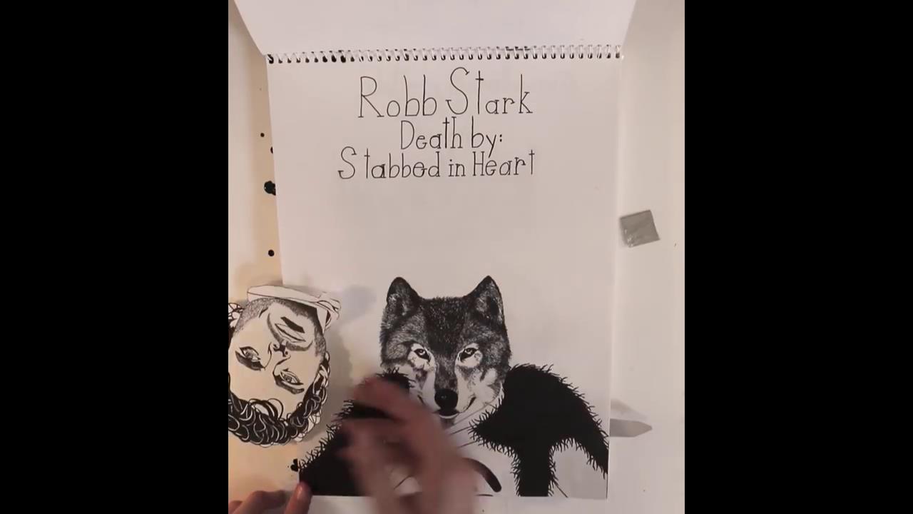 La testa di Vento Grigio cucita sul corpo di Robb Stark