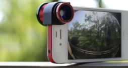 iPhone con lente fotografica