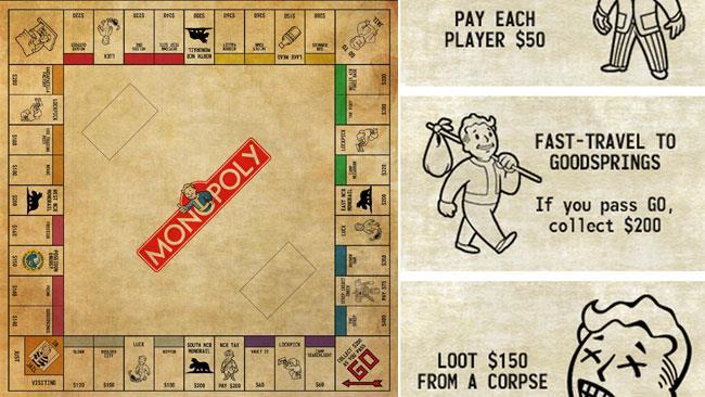 Il tabellone e le carte del Monopoly di Fallout: New Vegas