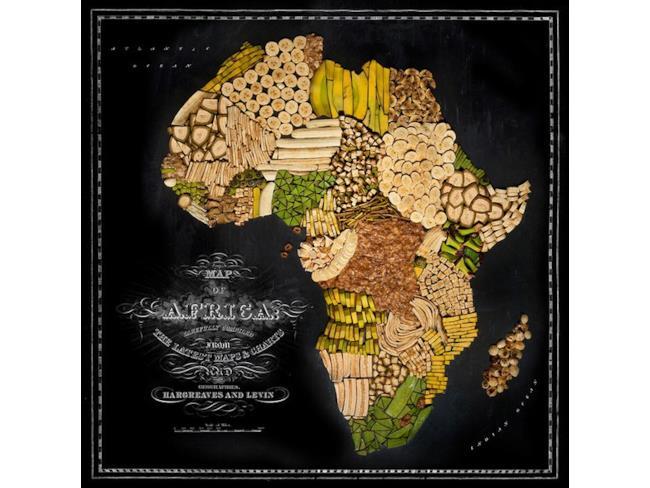 Cartina dell'Africa fatta con il cibo