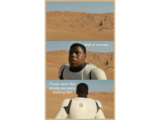 Immagine del trooper nero di Star Wars 7