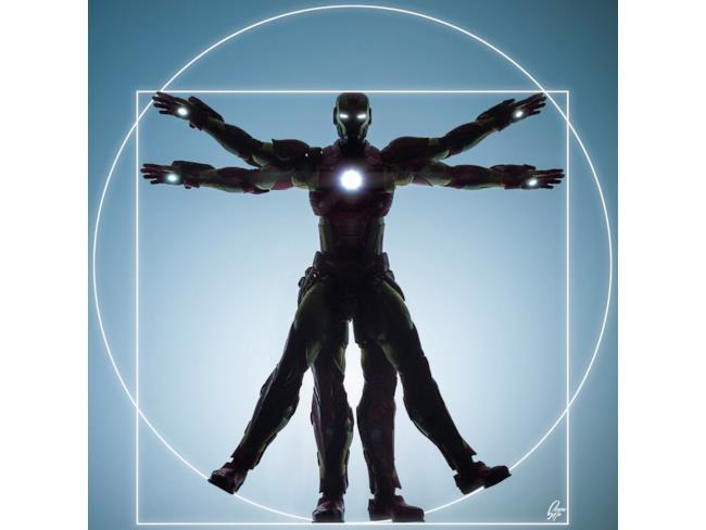 Iron Man in posa come l'Uomo Vitruviano di Leonardo