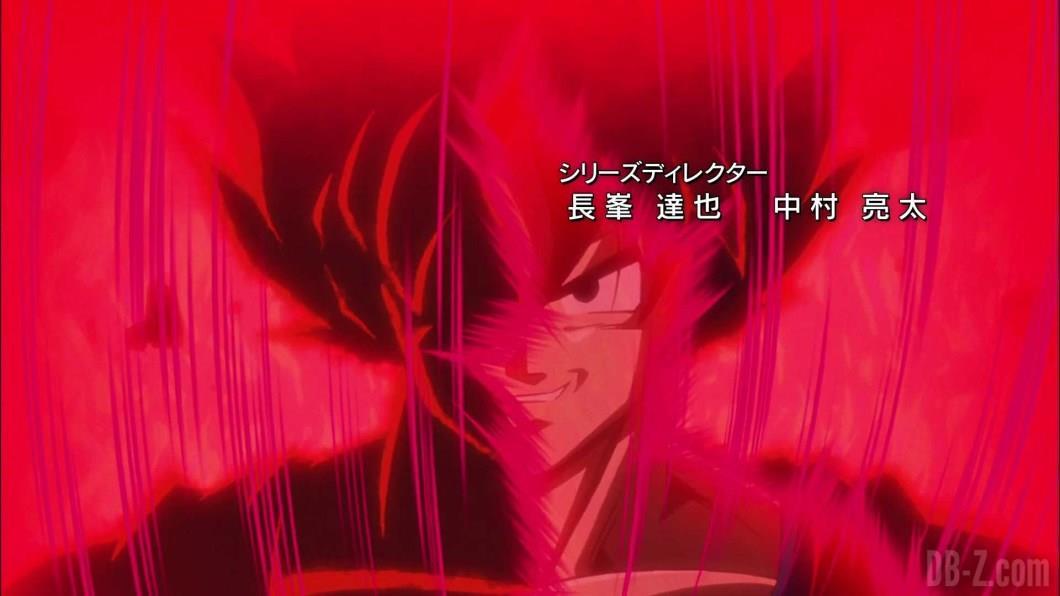 Primo piano di Goku durante la trasformazione