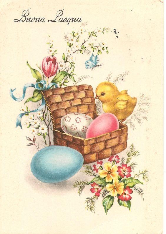 Un pulcino con le uova pasquali - Immagini per auguri di Buona Pasqua