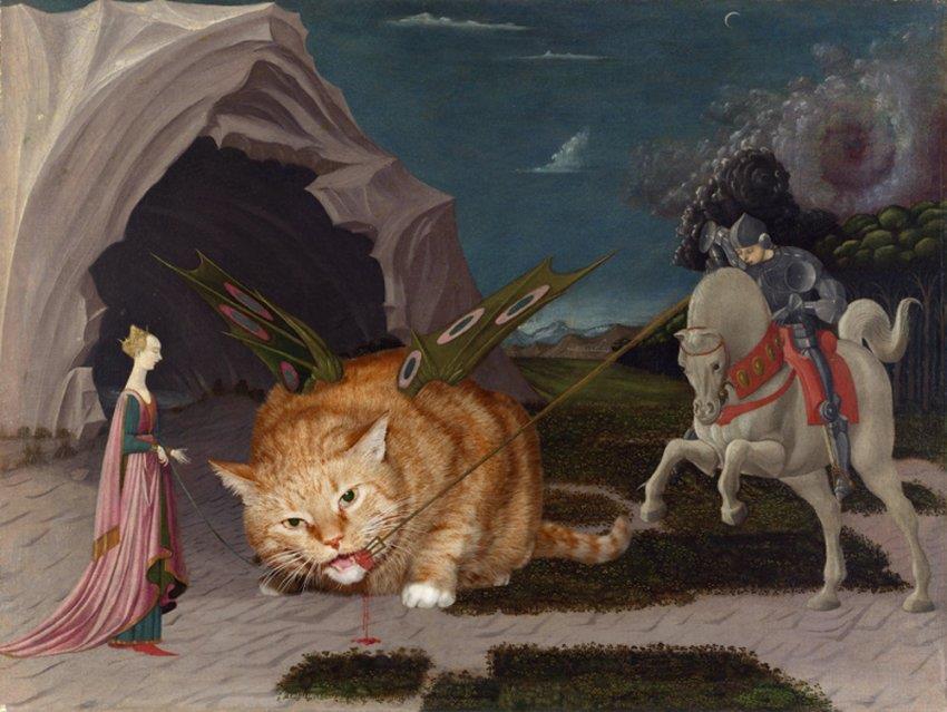 Esperimento di Svetlana Petrova dove il suo gatto entra nelle opere d'arte