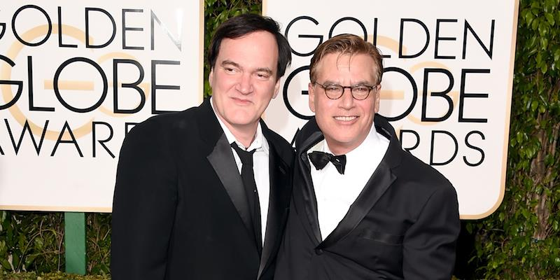 Quentin Tarantino e Aaron Sorkin sul red carpet dei Golden Globes 2016