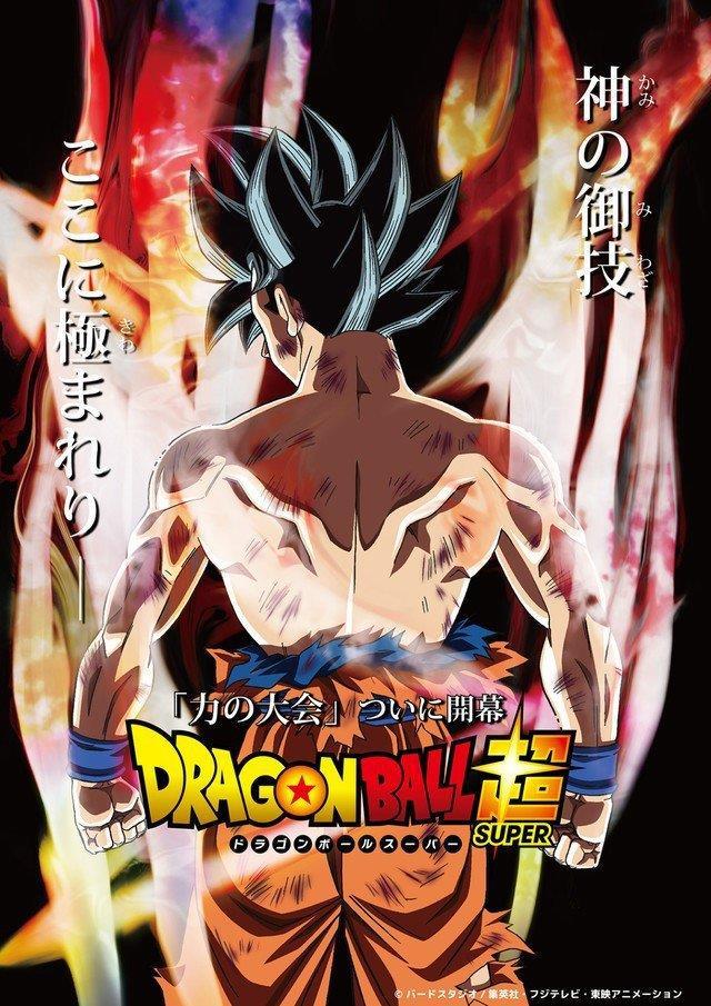 Goku, di spalle, in tutta la sua potenza