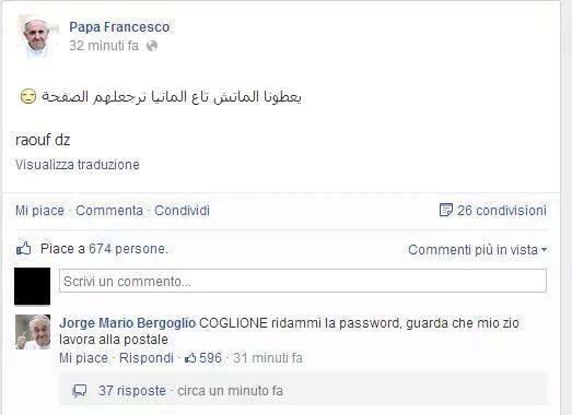 Risposta ad un post sulla pagina hackerata di Papa Francesco