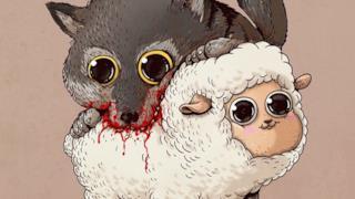 Il lupo azzanna un'allegra pecorella