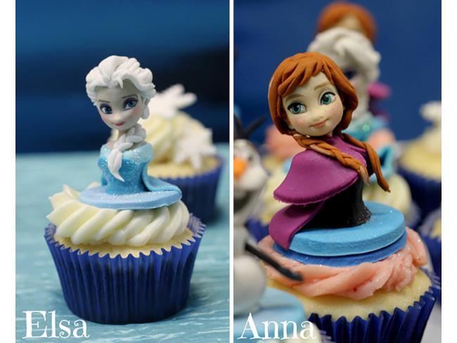 Elsa e Anna sulle cupcake di Frozen